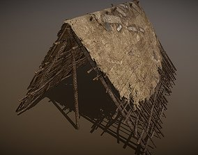 3D model HQ Old Wooden Shelter Made of Branches
