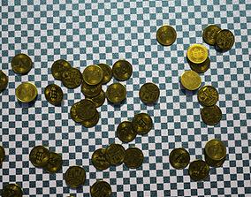 3D asset Bitcoins Fall Baked Animation