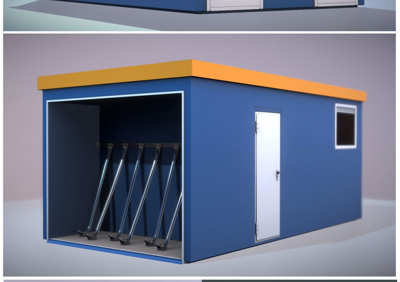 Break Room Building with Toilets and Bicycle Parking Space