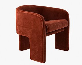 3D milo baughman armchair in orange velvet