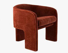 3D milo baughman armchair in orange velvet