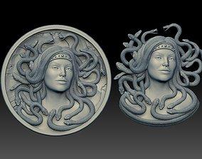 medusa pendant Bas-Relief 3D print model cnc coins