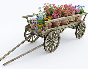 wooden cart flower pot 3D model