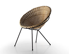 Round Wicker Chair 3D model