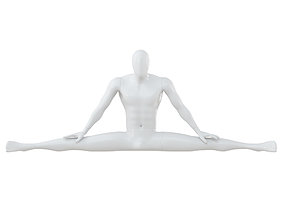 3D model White Mannequin Sitting On A Twine 60