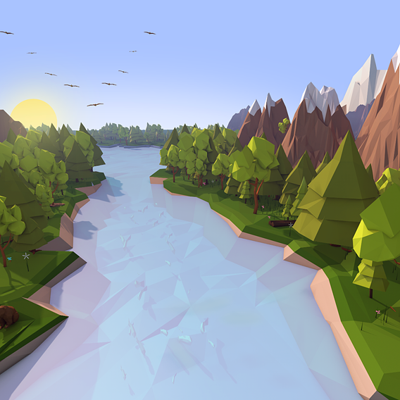 Low Poly Nature Illustrations