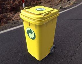 3D model Yellow Plastic Waste Bin 240 Liters