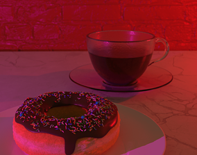 Donut and mug 3D asset
