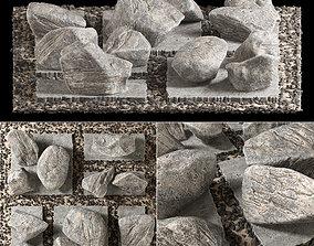 3D model Slab tile gravel monument n1