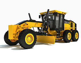 3D Yellow John Deere Grader