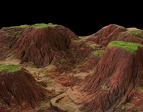 Tileable red rocks canyon with green plateau and 3D asset