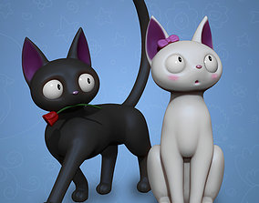 Anime Style Cat Couple 3D Print sculpture