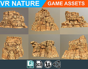 Low poly Realistic Desert Cliff Pack 180609 3D model
