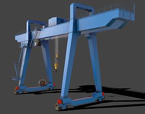 PBR Double Girder Gantry Crane V1 - Blue Light 3D model