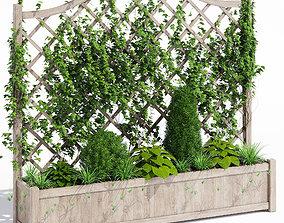 3D model Oxford wooden trellis planter
