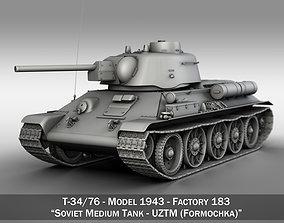 3D T-34-76 UZTM - Model 1943 - Soviet Medium Tank