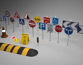 Big Traffic Signs Pack Low-Poly 3D model game-ready