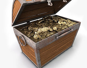 3D model Treasure chest with gold