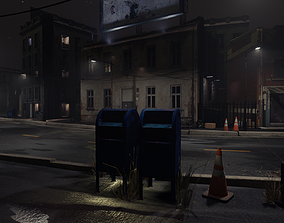 3D asset Atmospheric Night city street scene