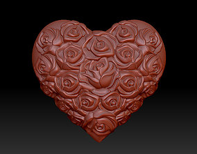 3D printable model heart with roses