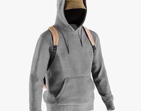 Mens Tshirt with Hoodie Hat Backpack 10 3D asset