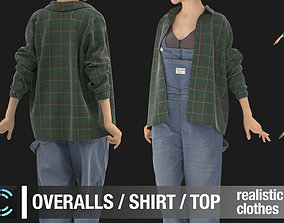 3D Female outfit Overalls Shirt Top Marvelous Designer