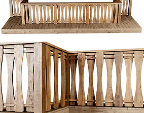 Wooden stair fencing F02 3D model