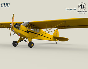 3D asset Piper Cub