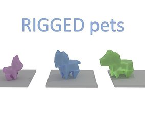 Origami pets RIGGED 3D model low-poly