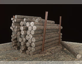 Low Poly Wood Logs Pile PBR 3D asset