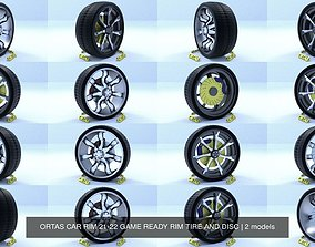 ORTAS CAR RIM 21-22 GAME READY RIM TIRE AND DISC 3D model