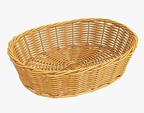 Wicker basket oval medium brown 3D