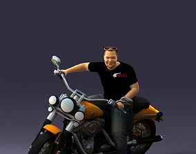 3D Man on motorcycle 0142