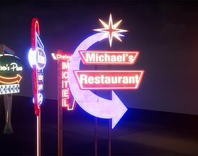 Retro Googie Diner Neon Sign Set - FBX Included 3D model