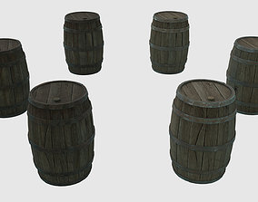 Low Poly Wooden Barrels With PBR 3D asset