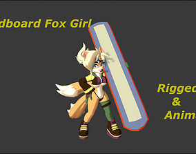 3D asset animated Sandboard Fox Girl