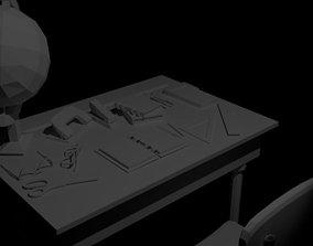 school desk set 3D asset