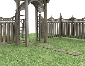 modular garden fencing 3D model low-poly