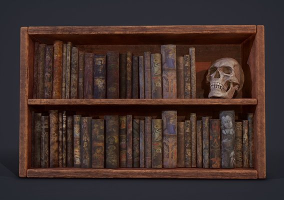 Medieval Books and Skull Scene