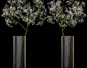 3D model Gypsophila flower in vase