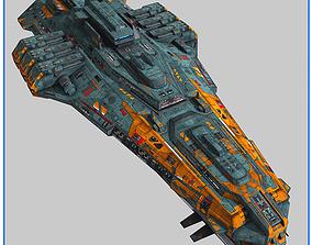 LowPoly StarShip Cruiser V2 3D asset