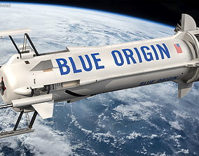 Blue Origin New Shepard Rocket Booster with Crew 3D model