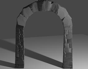 Stone Brick Gateway 3D model entrance