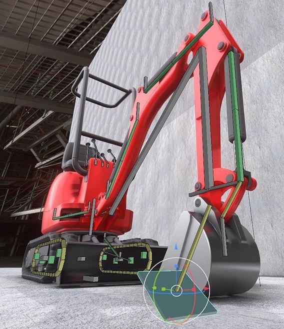 Rigged Mini-Excavator Low-Poly-Version