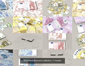 Euro banknote packs collection 3D model