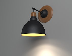 3D Anthracite Sconce Lamp With Wooden Detail