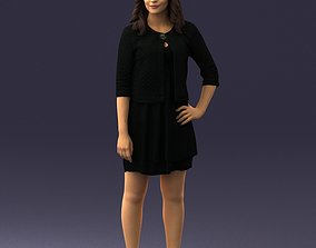 Woman in black dress 0192 3D print model