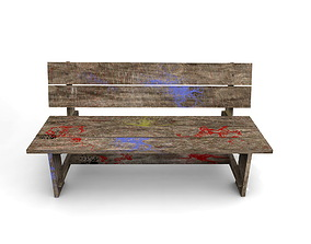 Wooden bench 3D outdoor