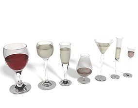 3D model Set Of Glassware