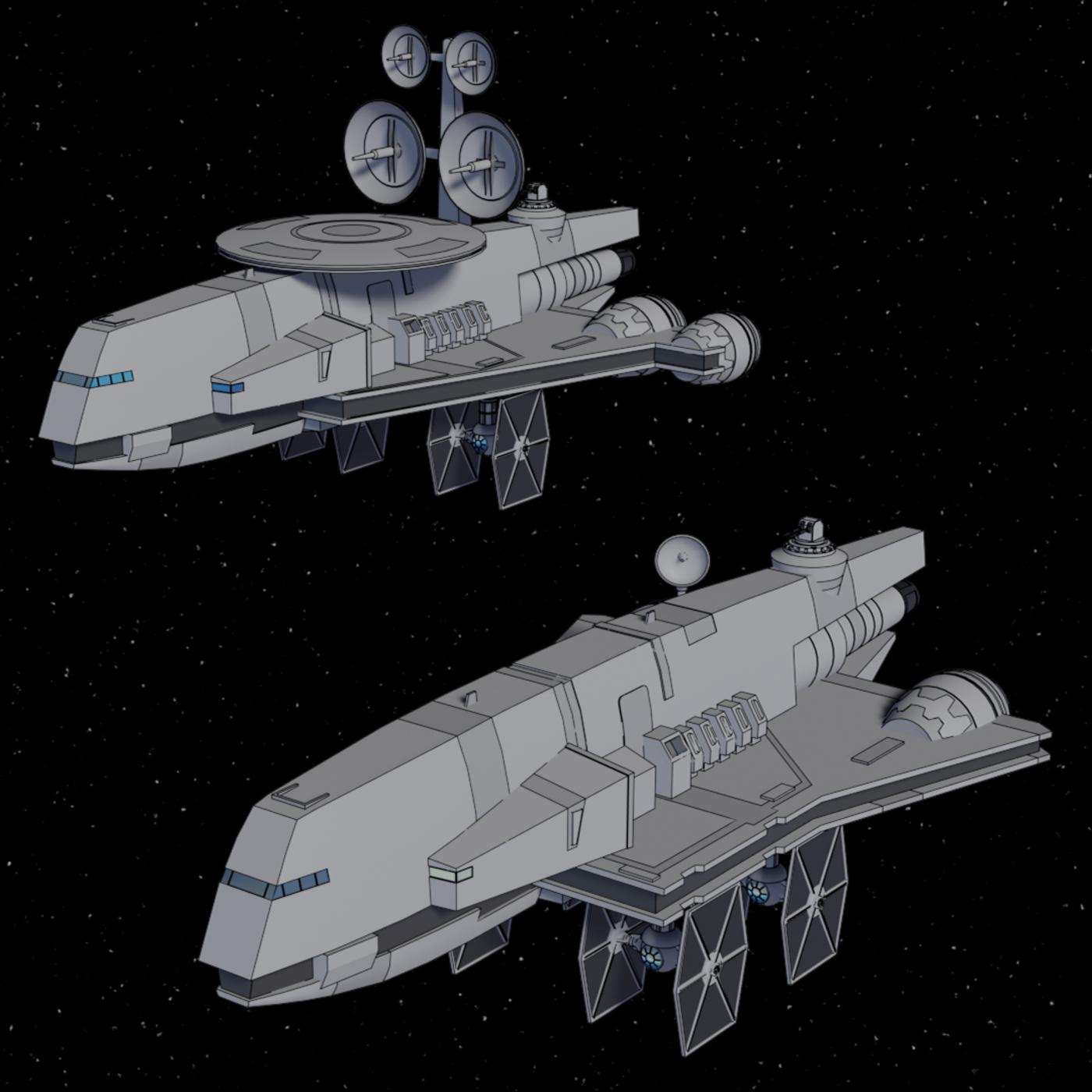 Gozanti-class Cruiser and Jammer - Star Wars - Fan Art